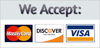 We Accept MasterCard, Discover & Visa